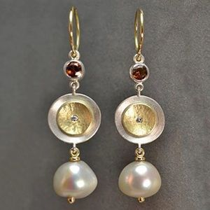 JUST IN Stunning Gold Disc Drop Dangle Earrings